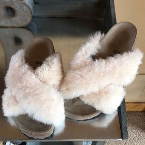 New sheepskin Birkenstock sandals